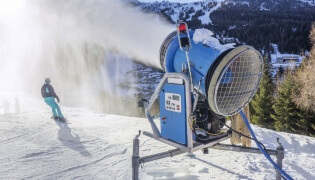Climate fears: snow machines may become a permanent fixure at Perisher. Even in August.